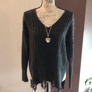 ODDY Distressed V-neck Sweater